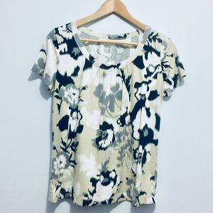 Merona Small Black, Tan, & White Floral Top
